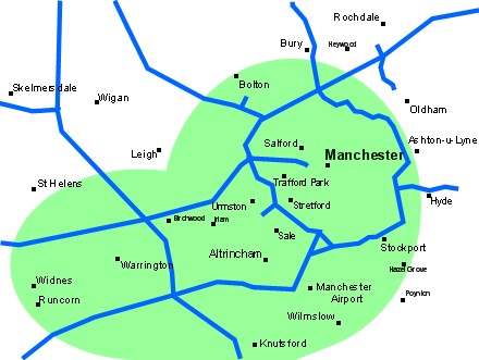 Manchester and Cheshire Courier Coverage Map
